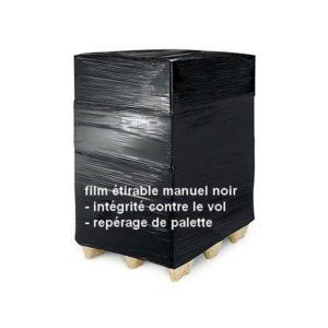 palette filmée avec du film étirable manuel noir opaque